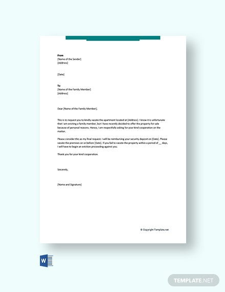 Free Eviction Letter To Family Member Template