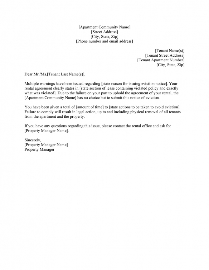 Free Eviction Notice Templates Pdf   Word