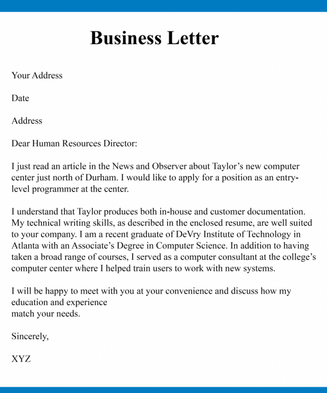 Free Example Of Business Letter Writing Templates