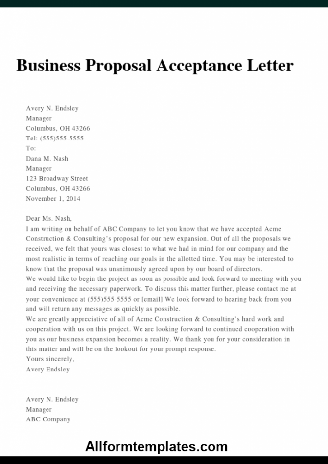 Free Example Of Business Proposal Sample Letter