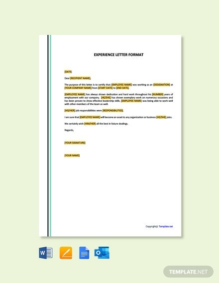 Free Experience Letter Format Template