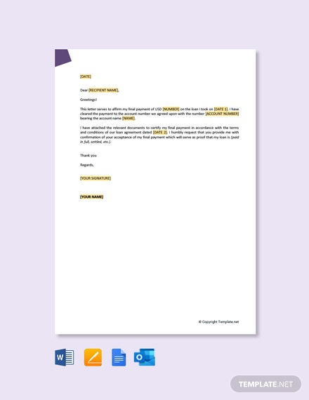 Free Final Payment Letter Template