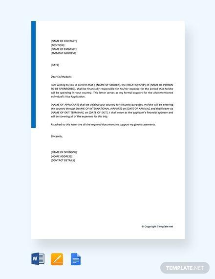 Free Financial Sponsorship Letter For Visa