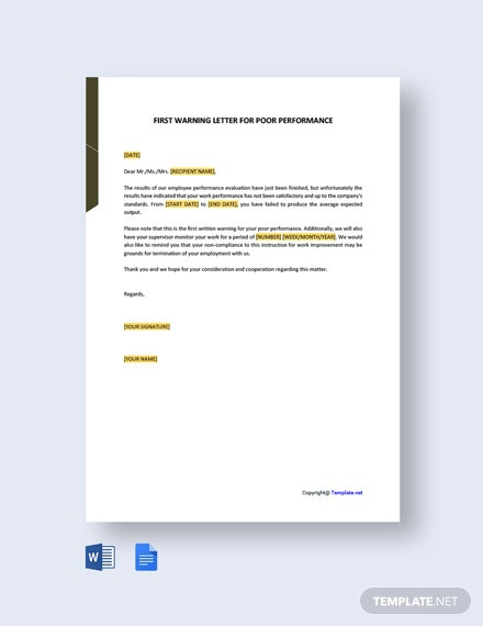 Free First Warning Letter For Poor Performance Template