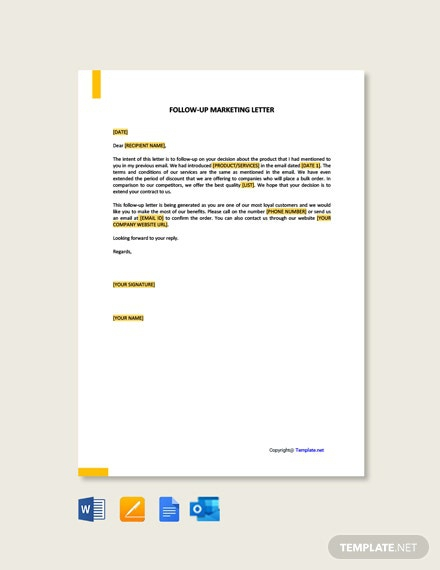 Free Follow Up Marketing Letter Template