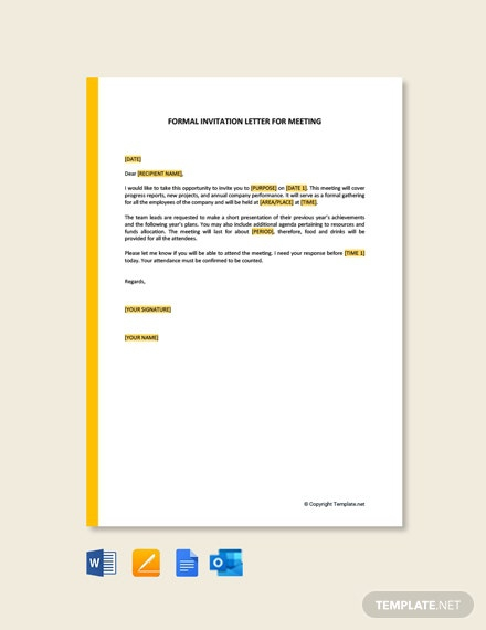 Free Formal Invitation Letter For Meeting Template