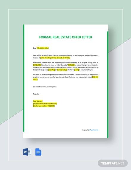 Free Formal Offer Letter For Real Estate