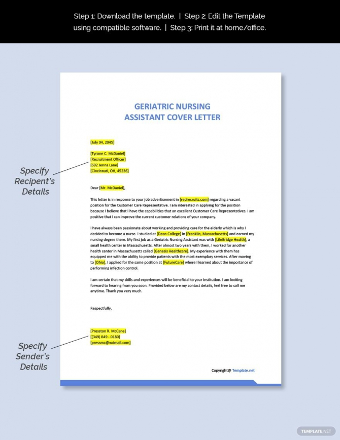 Free Geriatric Nursing Assistant Cover Letter Template In
