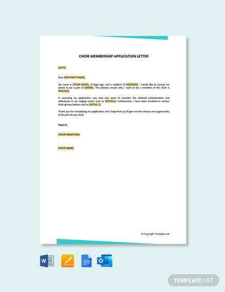 Free Golf Club Membership Application Letter Template