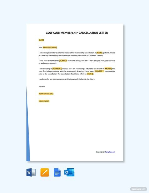Free Golf Club Membership Cancellation Letter