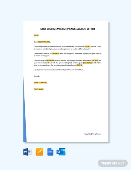 Free Golf Club Membership Cancellation Letter Template