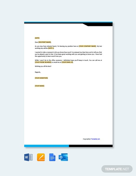 Free Goodbye Letter Examples When Leaving A Job Template