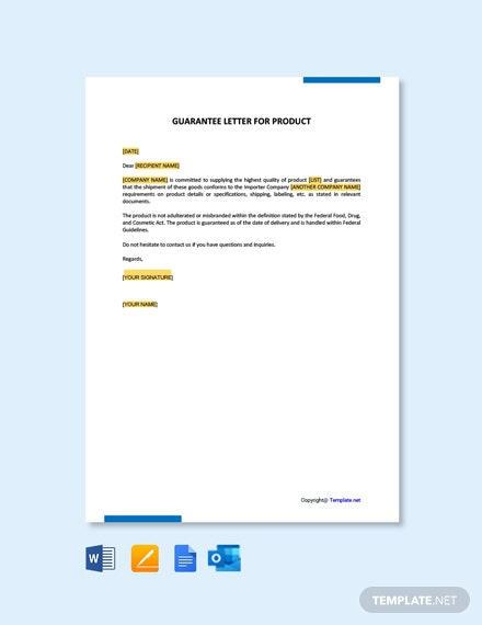 Free Guarantee Letter For Product Template