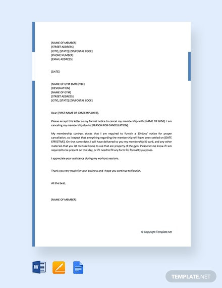 Free Gym Membership Cancellation Letter Template