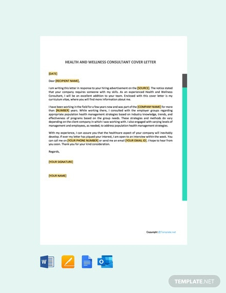 Free Health And Wellness Consultant Cover Letter