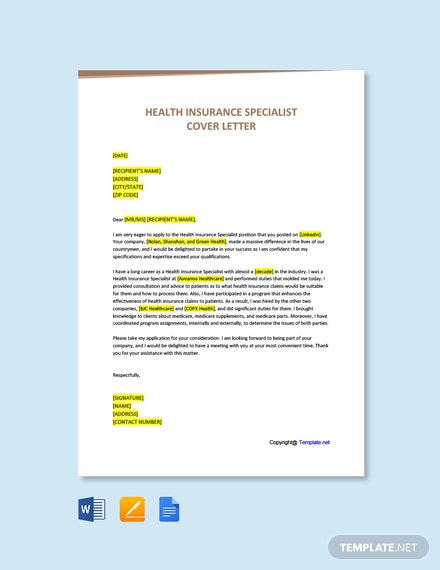 Free Health Insurance Specialist Cover Letter