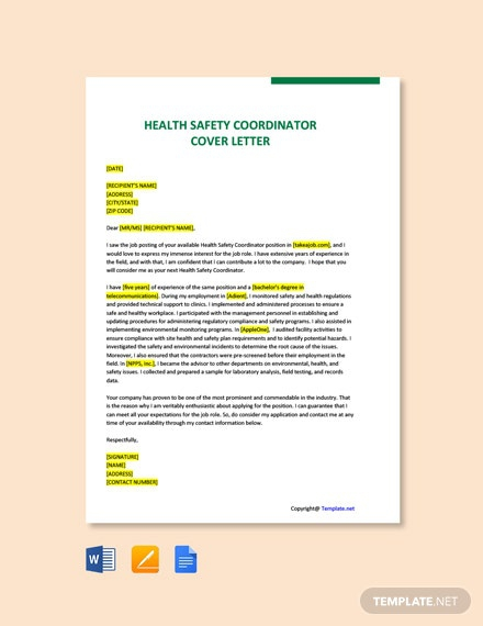 Free Health Safety Coordinator Cover Letter