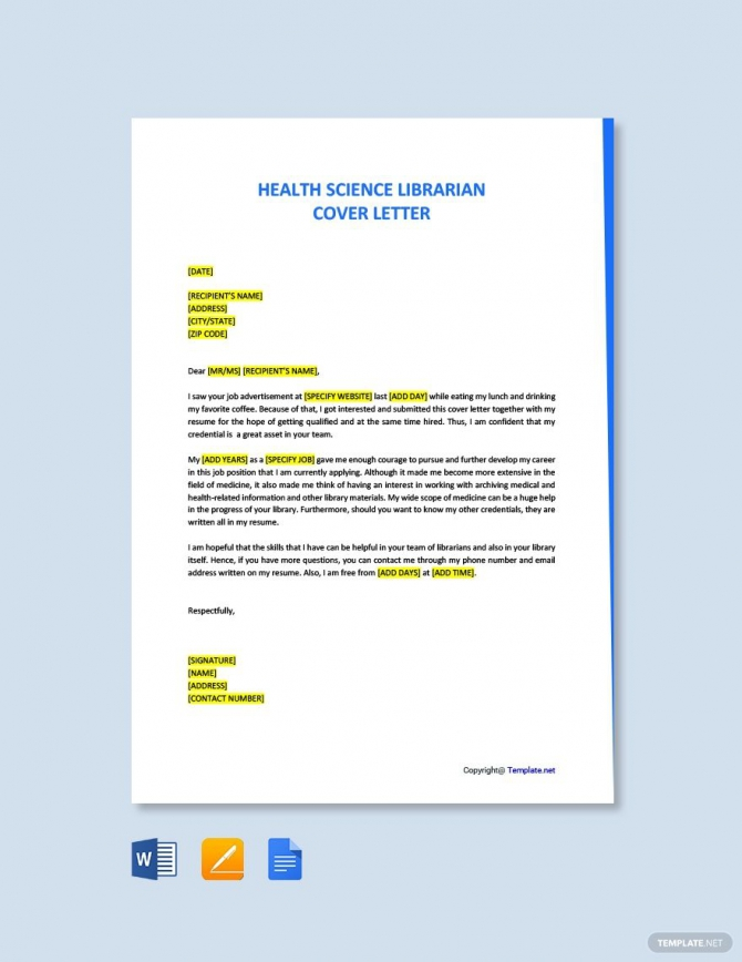 Free Health Science Librarian Cover Letter