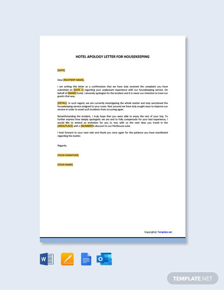 Free Hotel Apology Letter For Housekeeping Template