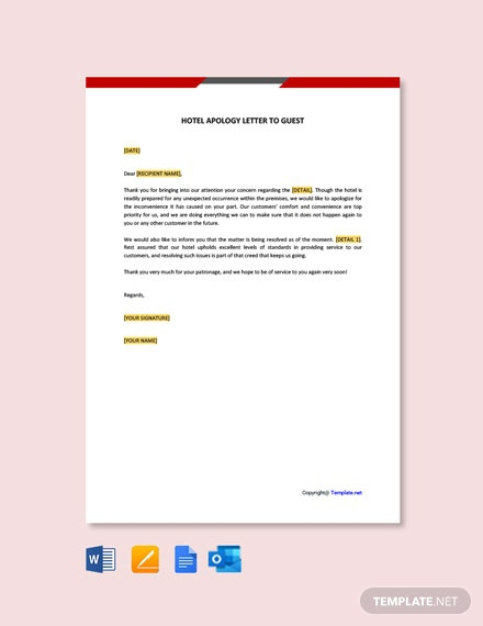Free Hotel Apology Letter To Guest Template