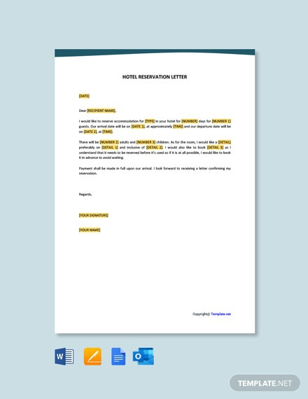 Free Hotel Reservation Letter Template