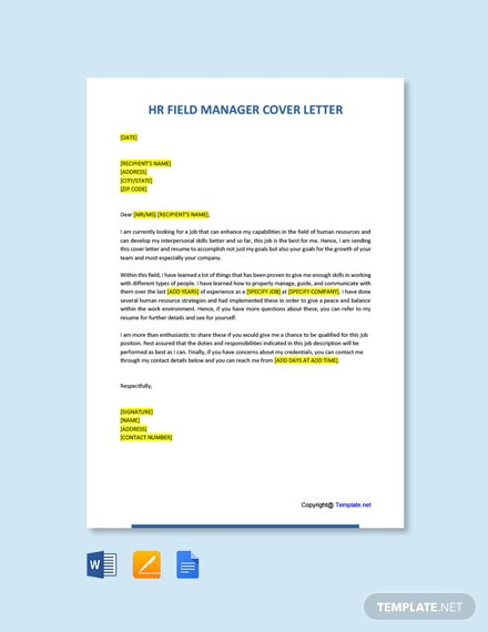 Free Hr Field Manager Cover Letter Template