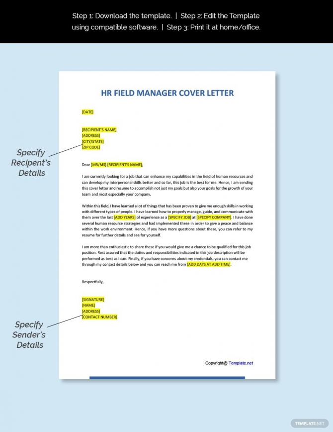 Free Hr Field Manager Cover Letter Template In