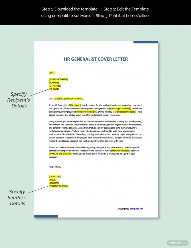 Free Hr Generalist Cover Letter