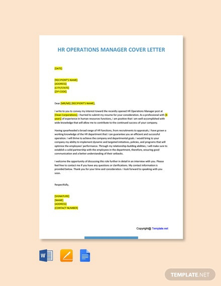 Free Hr Operations Manager Cover Letter Template
