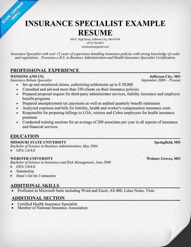 Free Insurance Specialist Resume Resumecompanioncom