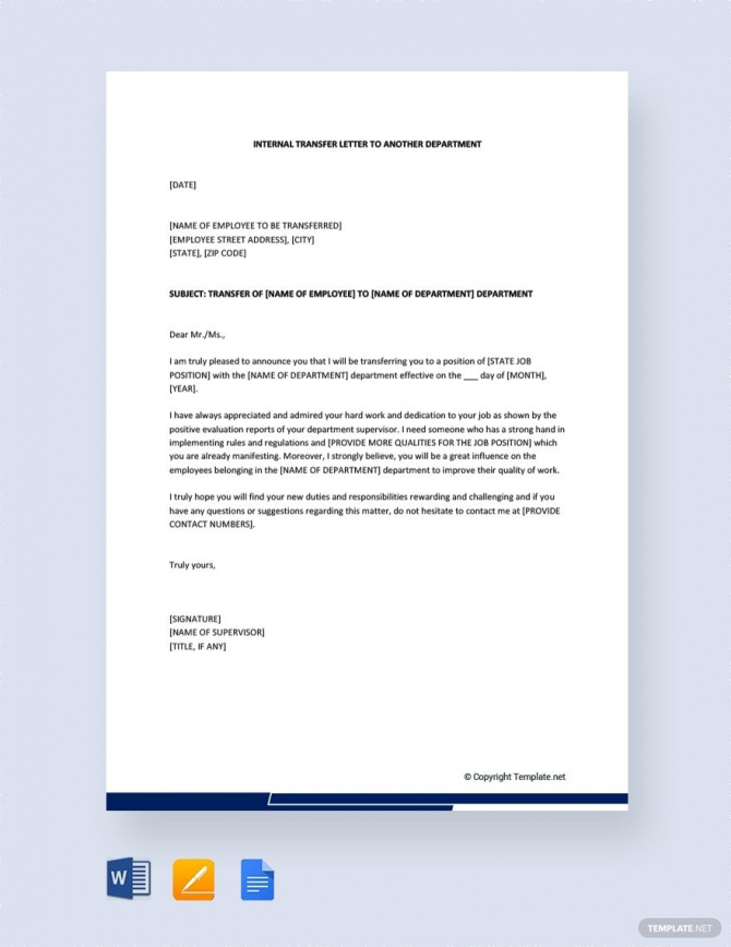 Free Internal Transfer Letter To Another Department In