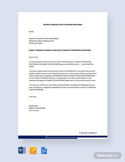 Free Internal Transfer Letter To Another Department Template
