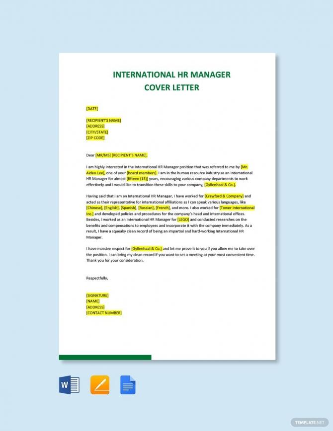 Free International Hr Manager Cover Letter