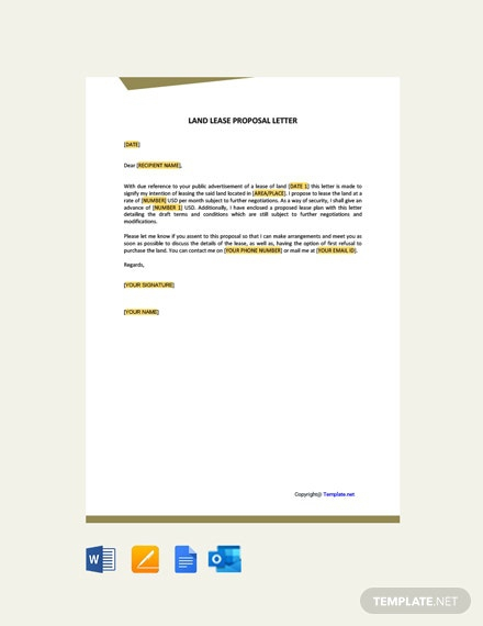 Free Land Lease Proposal Letter Template