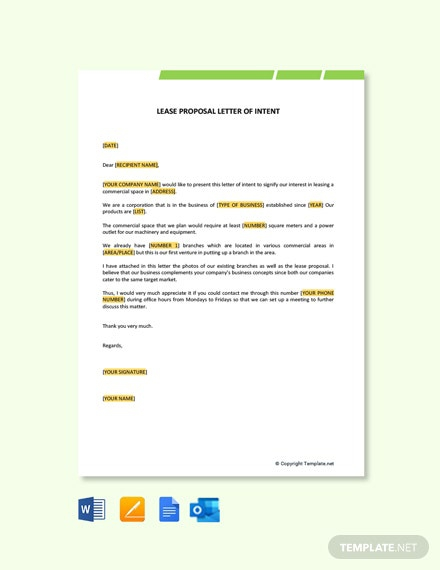 Free Lease Proposal Letter Of Intent Template