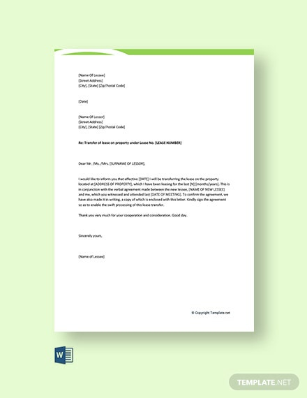 Free Lease Transfer Letter Template