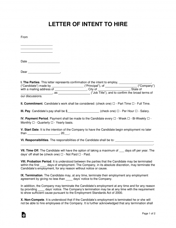 Free Letter Of Intent To Hire Template
