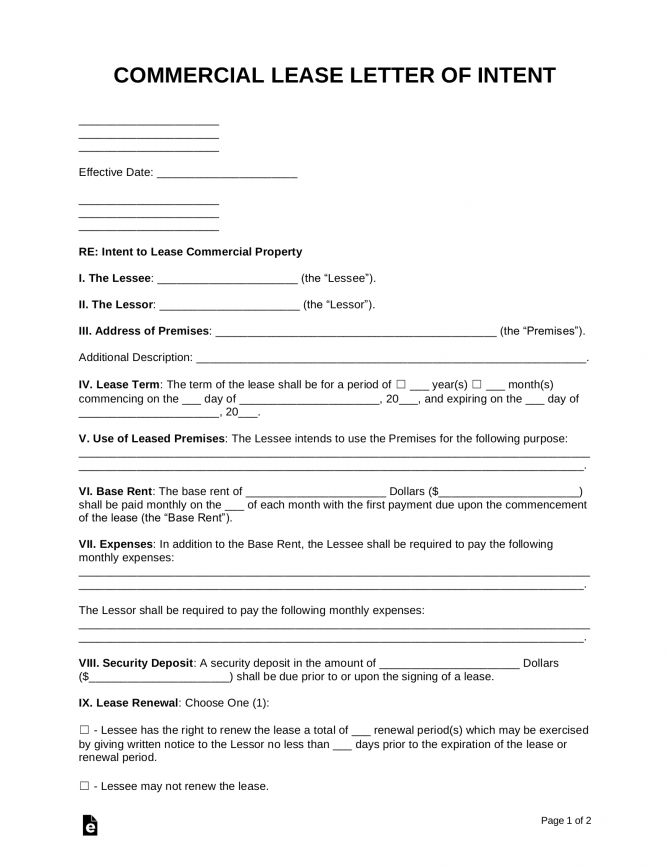 Free Letter Of Intent To Lease Commercial Property
