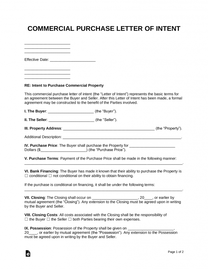 Free Letter Of Intent To Purchase Commercial Property