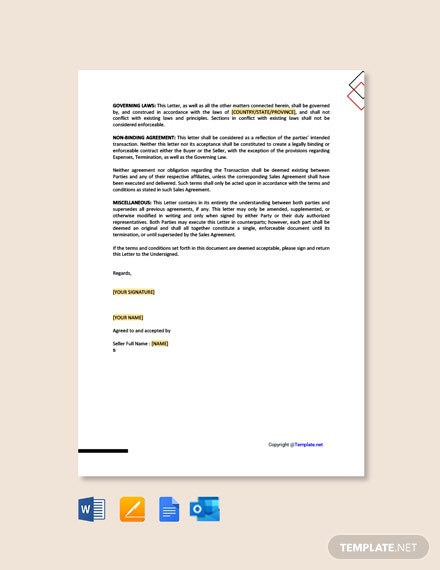 Free Letter Of Intent To Purchase Product Template