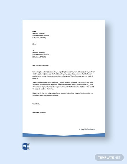 Free Letter Of Transfer Of Ownership Of Property Template