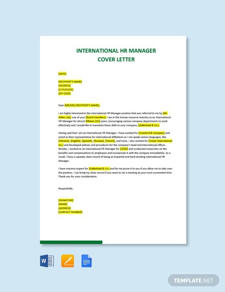 Free Manager Cover Letter