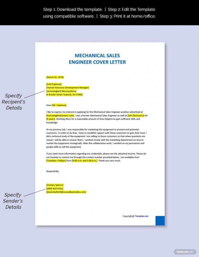 Free Mechanical Sales Engineer Cover Letter Template In