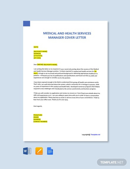 Free Medical And Health Services Manager Cover Letter