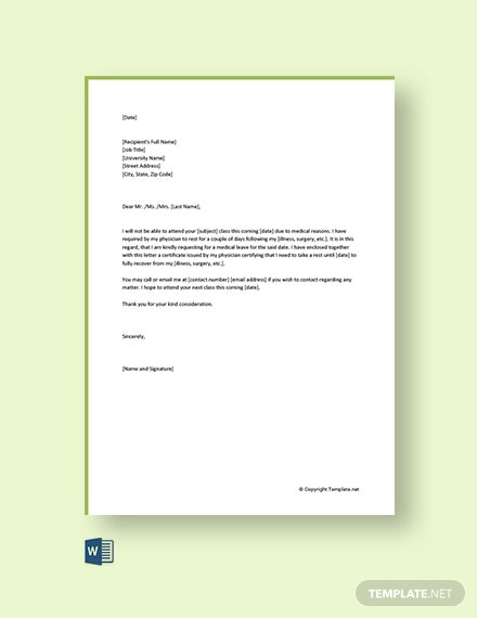 Free Medical Leave Letter For College Template