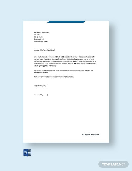 Free Medical Leave Letter For School Template