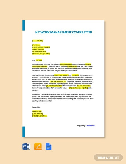 Free Network Management Cover Letter