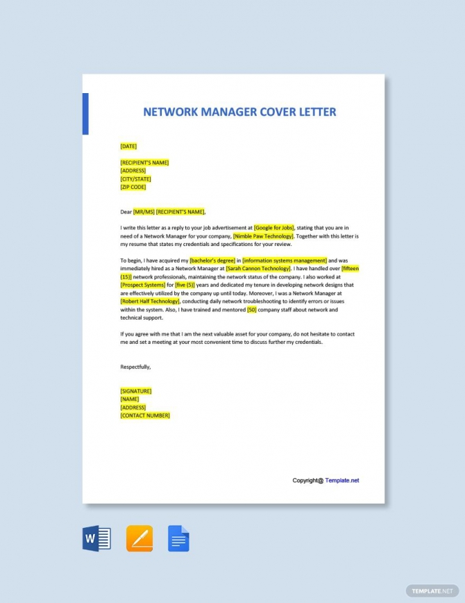 Free Network Manager Cover Letter