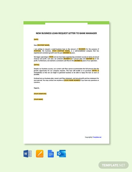 Free New Business Loan Request Letter To Bank Manager Template