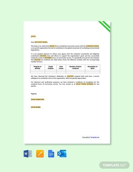 Free Nonprofit Community Service Letter Template